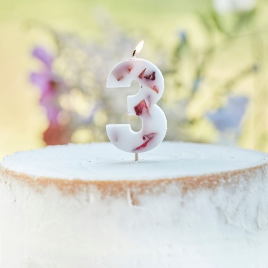 Pressed Petal Number 3 Birthday Cake Candle