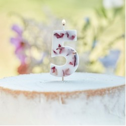 Pressed Petal Number 5 Birthday Cake Candle