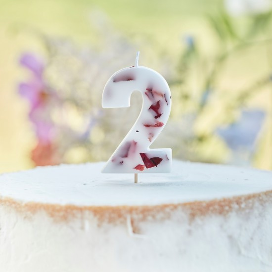 Pressed Petal Number 2 Birthday Cake Candle