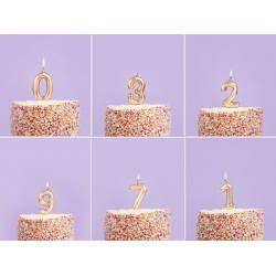 Gold Number Birthday Candles 1,2,3,4,5,6,7,8,9,0