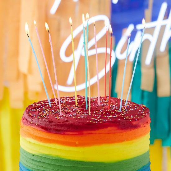 12 Tall Multi Coloured Birthday Cake Candle