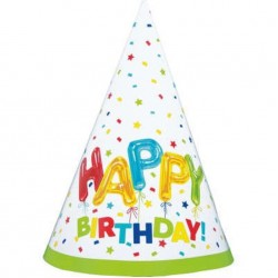 Rainbow Spots Birthday Party Hats, Pack of 8