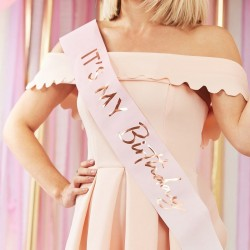 Pink Ombre Rose Gold Birthday Sash