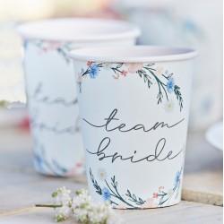 8 Boho Floral Team Bride Hen Party Cups