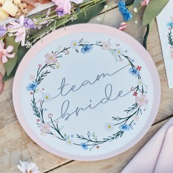 8 Boho Floral Team Bride Hen Party Plates