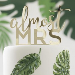 Almost Mrs Gold Acrylic Hen Party Cake Topper