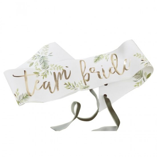 Gold Foiled Team Bride Botanical Hen Party Sashes, 6 in a pack