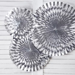 Silver Foiled Paper Fan Decorations