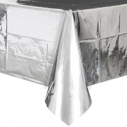 Silver Metallic Foil Plastic Tablecover, Party Tablecover