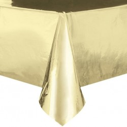 Gold Metallic Foil Plastic Tablecover, Party Tablecover
