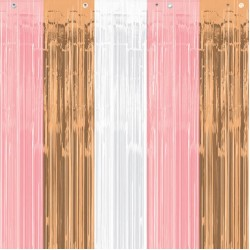 Rose Gold Blush Fringe Curtain