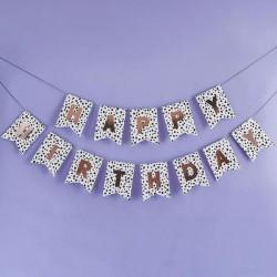 Dalmatian 'Happy Birthday' Banner, Rose Gold Happy Birthday Bunting