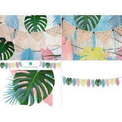 Tropical Palm Pastel Leaf Garland