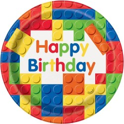 Building Blocks Birthday Party Plates