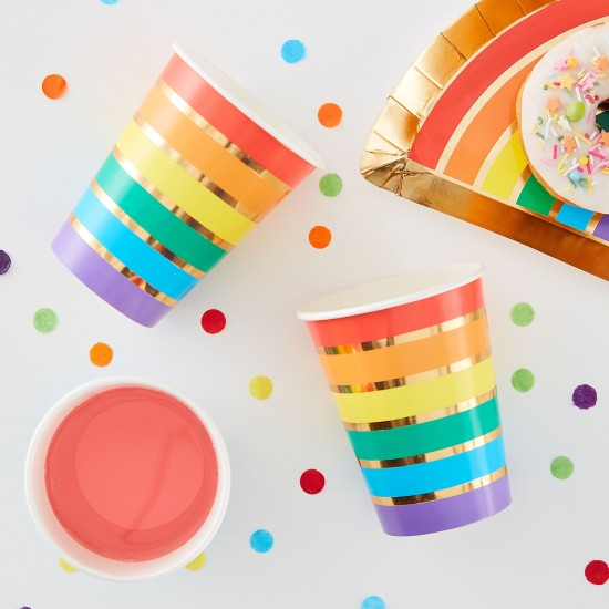Gold Foil Rainbow Party Paper Cups