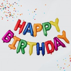 Rainbow Happy Birthday Bunting Balloons