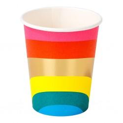 12 Birthday Brights Rainbow Paper Cups