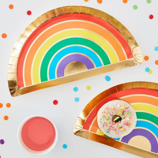 Gold Foiled Rainbow Paper Plate