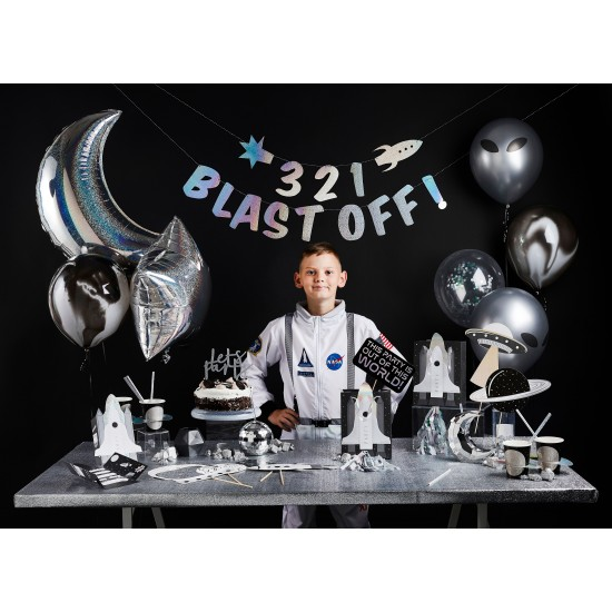 3 2 1 Blast Off Banner, Space Party Bunting