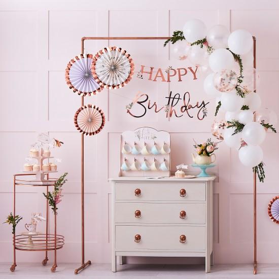 Floral Happy Birthday Banner
