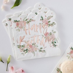 Floral Happy Birthday Napkins