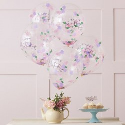 Floral Confetti Birthday Balloons