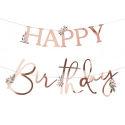 Floral Happy Birthday Banner