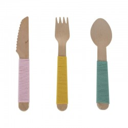 Yarn Wrapped Wooden Cutlery Set
