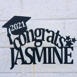 Personalised Custom Glitter Congrats Graduation Cake Topper