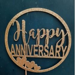 Happy Anniversary Cake Topper, Wedding Anniversary Topper