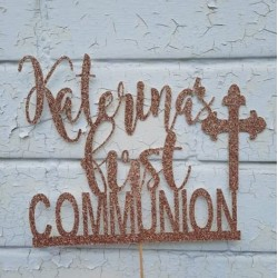 Personalised Custom Glitter Communion Party Decoration, Religious Cake Topper