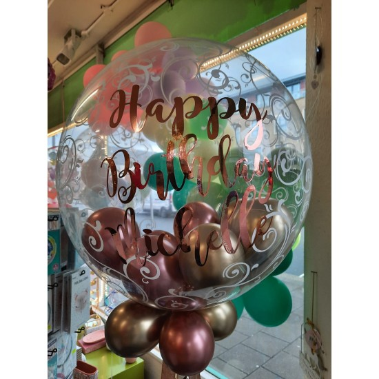 Personalised Rose Gold and Gold Balloons in a Fancy Filigree Bubble Balloon