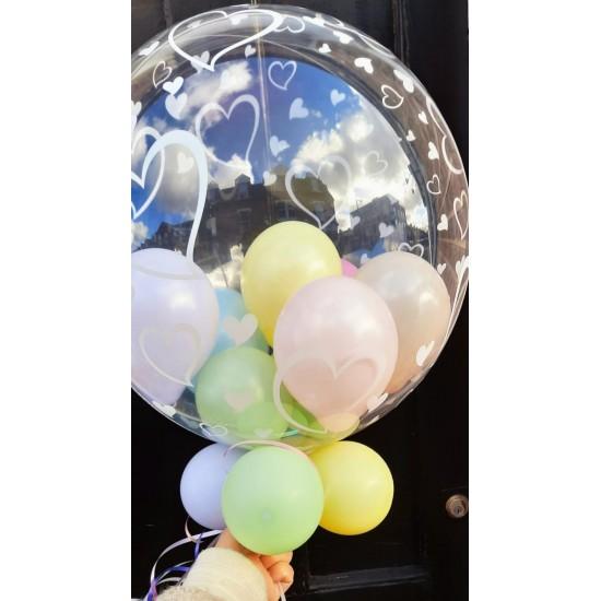 Balloons Inside a Stylish Hearts Bubble Balloon