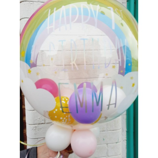 Rainbow Clouds Personalised Bubble Balloon