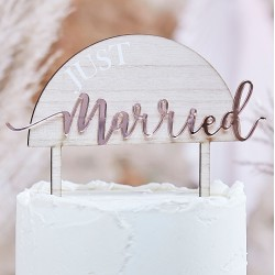 Just Married Wooden Wedding Cake Topper
