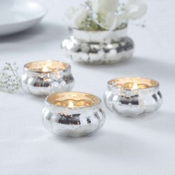 Silver Glass Frosted Tealight Holder