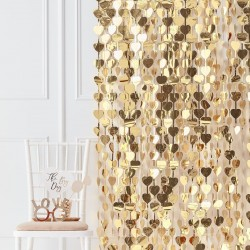 Gold Heart Wedding Party Backdrop