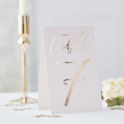 Gold Foiled Wedding Table Numbers