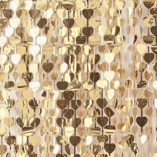 Gold Heart Wedding Party Backdrop